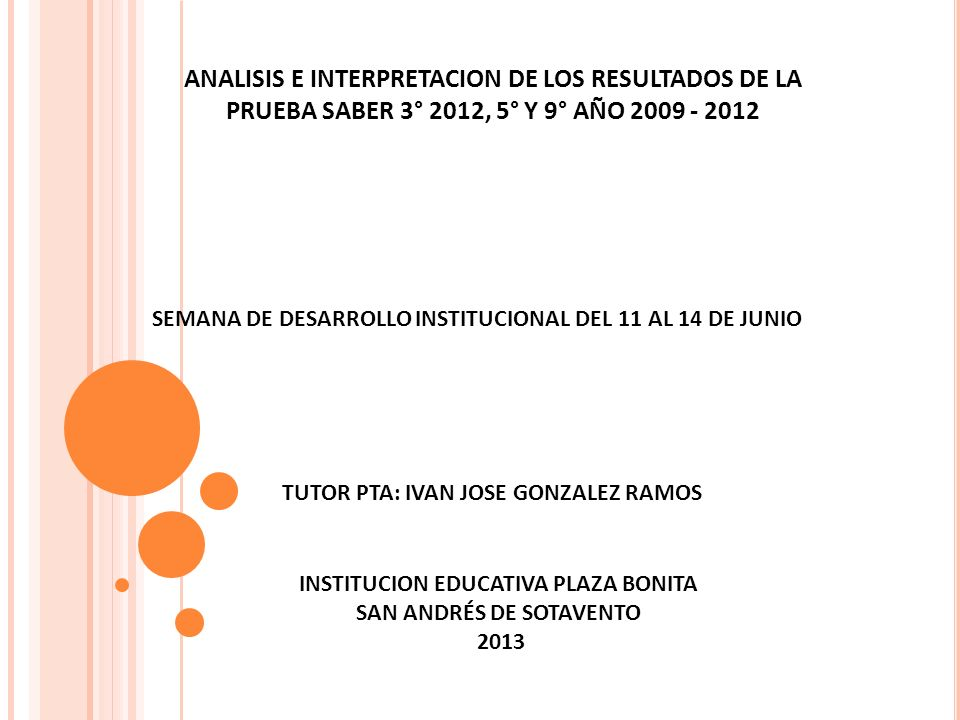 ANALISIS E INTERPRETACION DE LOS RESULTADOS DE LA PRUEBA SABER 3° 2012, 5° Y 9° AÑO 2009 - 2012