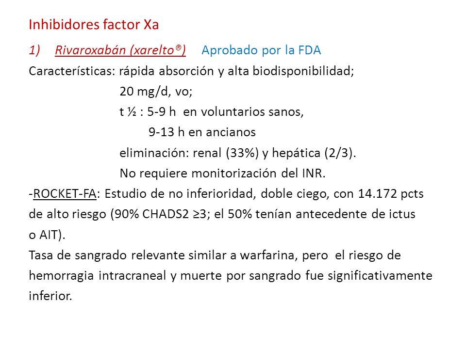Inhibidores factor Xa Rivaroxabán (xarelto®) Aprobado por la FDA