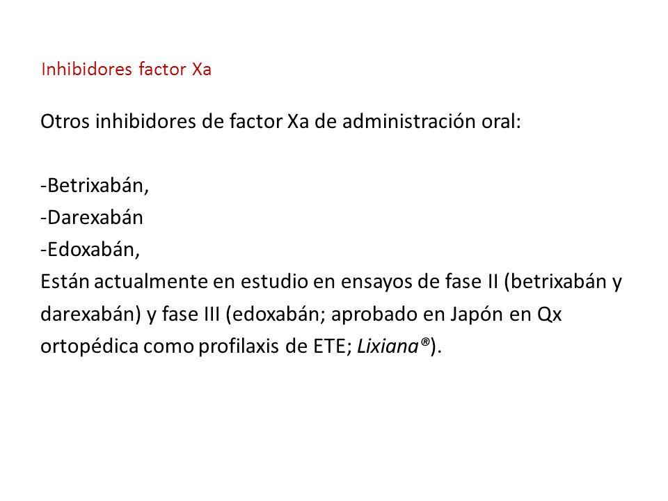 Otros inhibidores de factor Xa de administración oral: -Betrixabán,