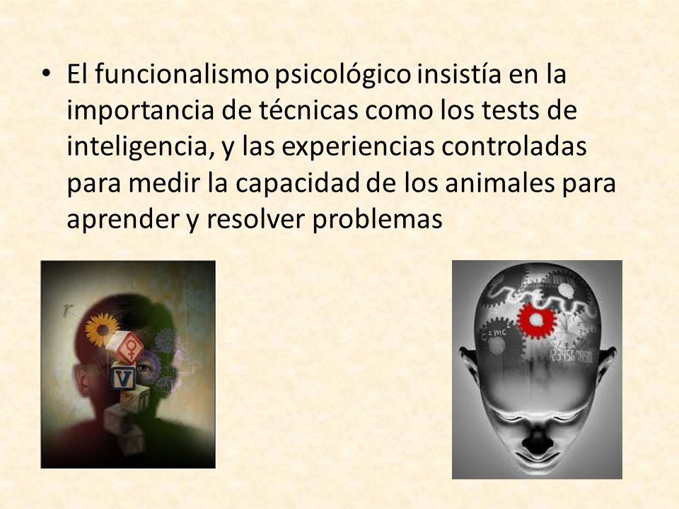 El funcionalismo psicológico insistía en la importancia de técnicas como los tests de inteligencia, y las experiencias controladas para medir la capacidad de los animales para aprender y resolver problemas