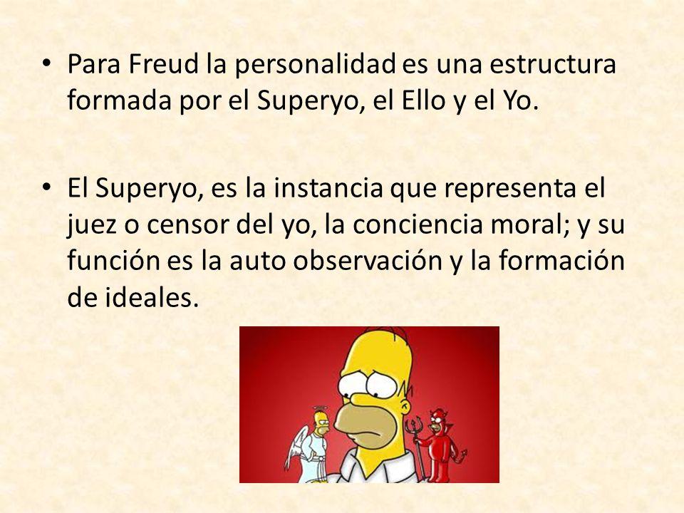 Para Freud la personalidad es una estructura formada por el Superyo, el Ello y el Yo.