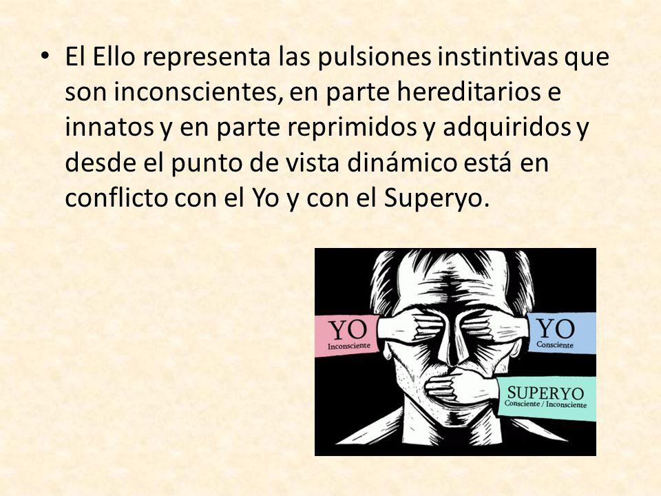 El Ello representa las pulsiones instintivas que son inconscientes, en parte hereditarios e innatos y en parte reprimidos y adquiridos y desde el punto de vista dinámico está en conflicto con el Yo y con el Superyo.