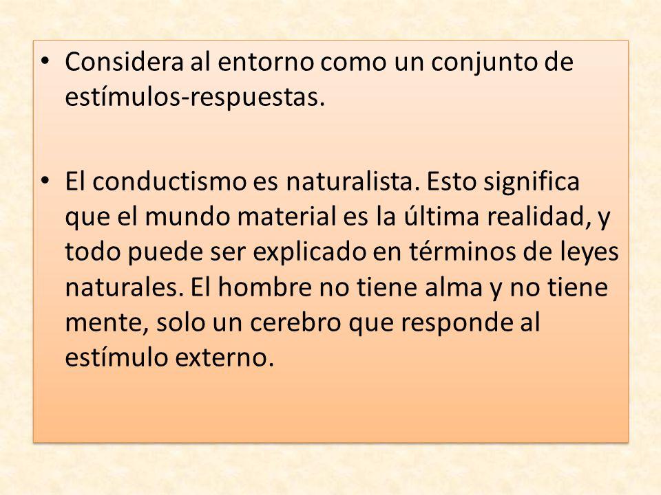 Considera al entorno como un conjunto de estímulos-respuestas.