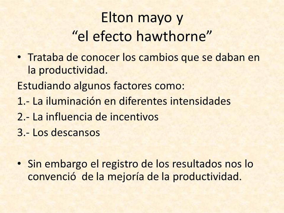 Elton mayo y el efecto hawthorne