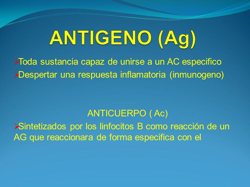 ANTIGENO (Ag) Toda sustancia capaz de unirse a un AC especifico