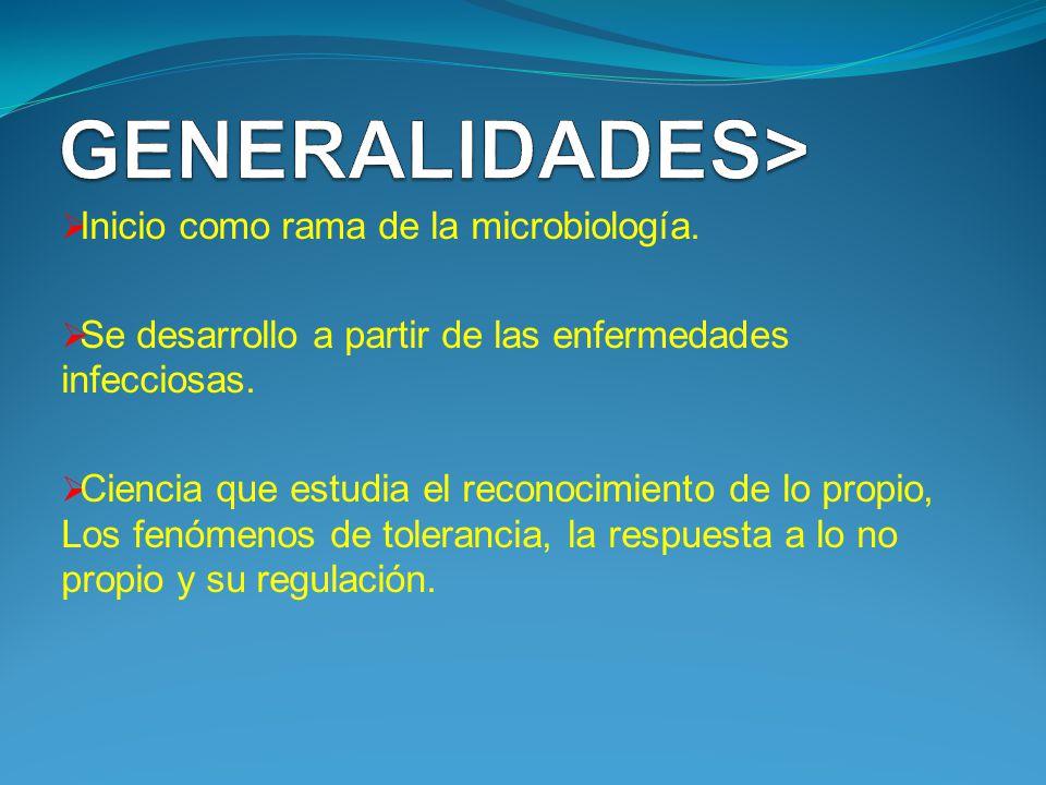 GENERALIDADES> Inicio como rama de la microbiología.