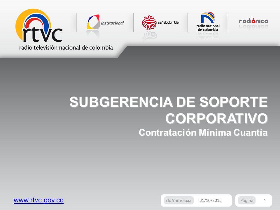 SUBGERENCIA DE SOPORTE CORPORATIVO Contratación Mínima Cuantía