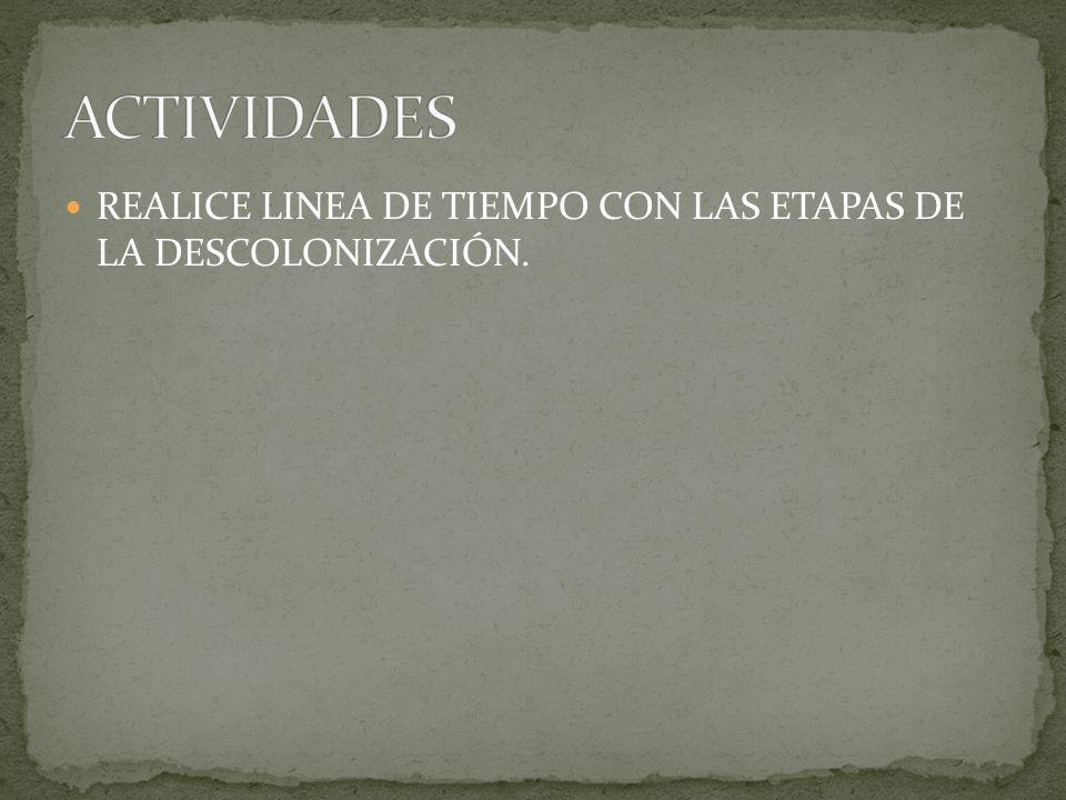ACTIVIDADES REALICE LINEA DE TIEMPO CON LAS ETAPAS DE LA DESCOLONIZACIÓN.