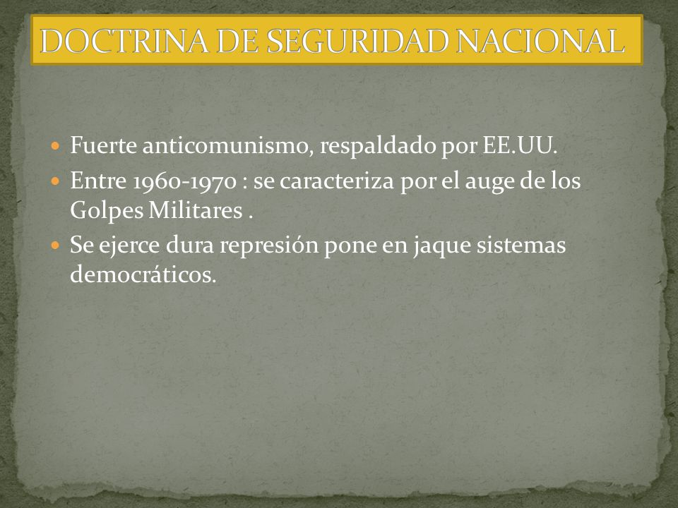DOCTRINA DE SEGURIDAD NACIONAL