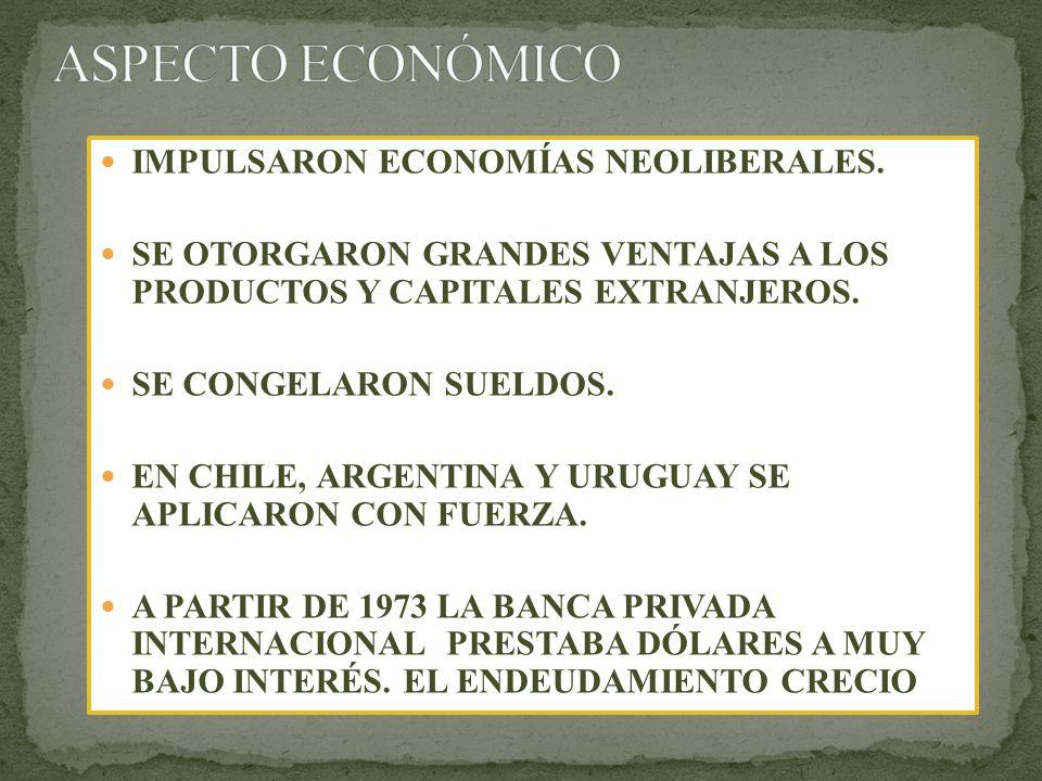 ASPECTO ECONÓMICO IMPULSARON ECONOMÍAS NEOLIBERALES.