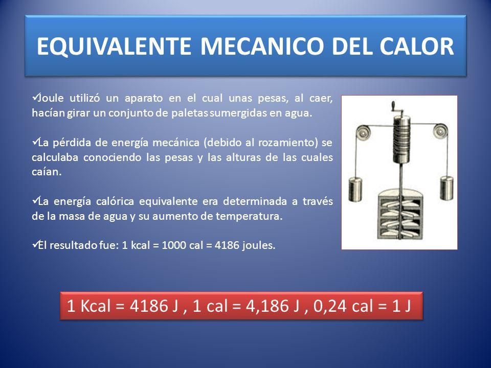 EQUIVALENTE MECANICO DEL CALOR