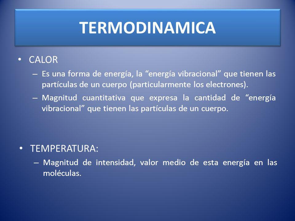 TERMODINAMICA CALOR TEMPERATURA: