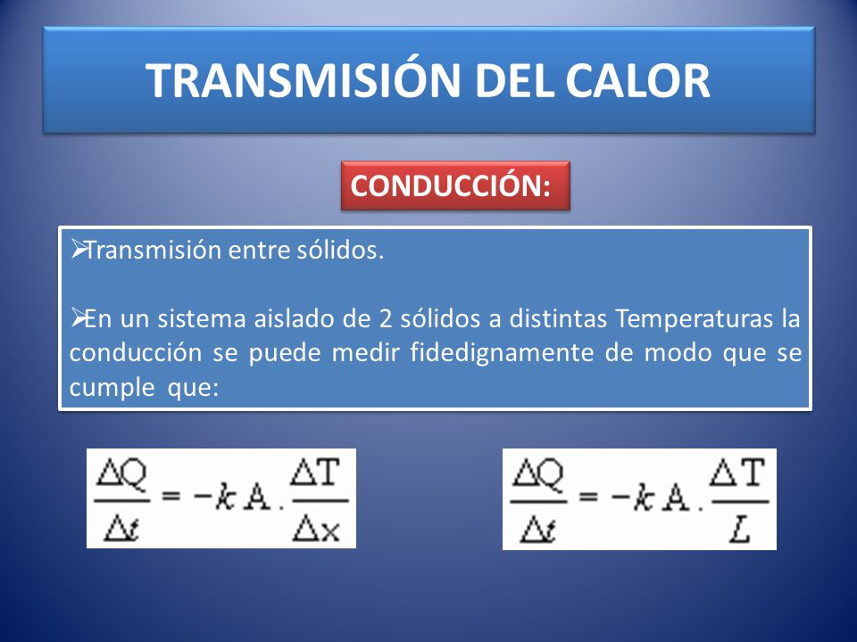 TRANSMISIÓN DEL CALOR CONDUCCIÓN: Transmisión entre sólidos.