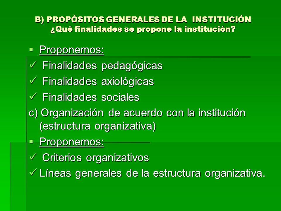 Finalidades pedagógicas Finalidades axiológicas Finalidades sociales
