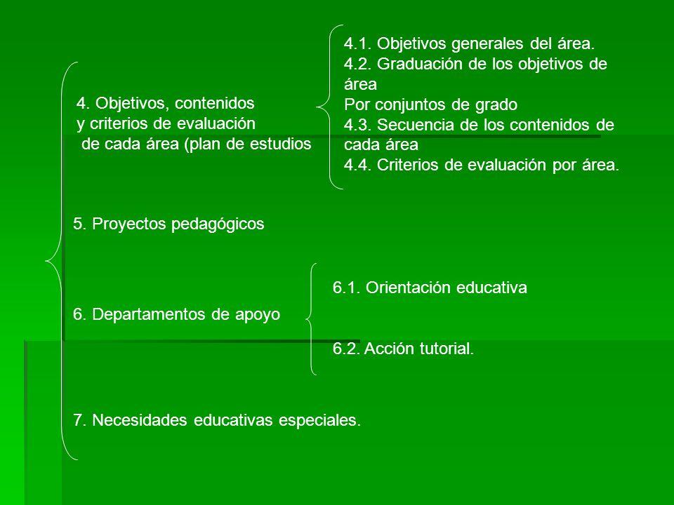 4.1. Objetivos generales del área.