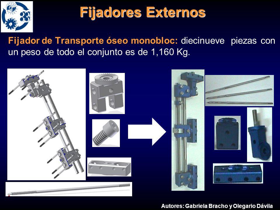 Fijador externo para transporte óseo monobloc
