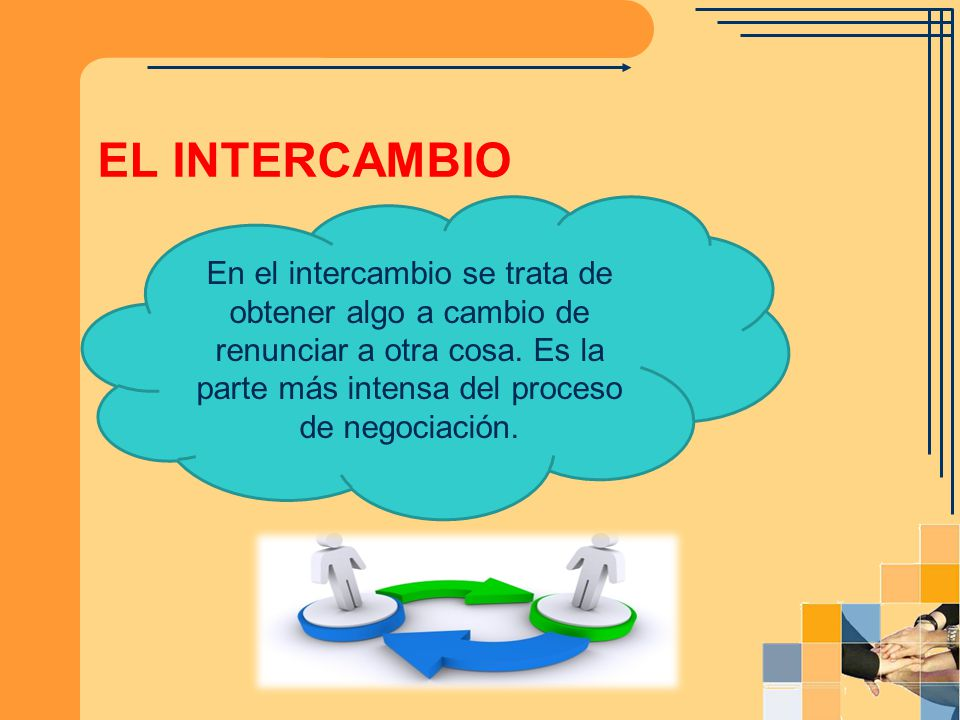 EL INTERCAMBIO En el intercambio se trata de obtener algo a cambio de renunciar a otra cosa.