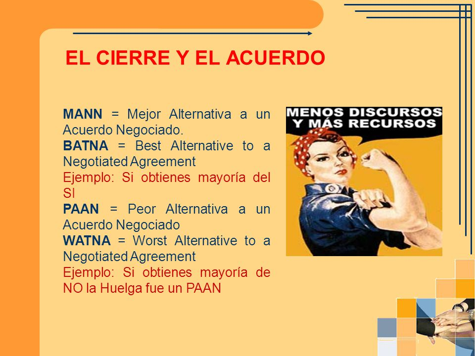 EL CIERRE Y EL ACUERDO MANN = Mejor Alternativa a un Acuerdo Negociado. BATNA = Best Alternative to a Negotiated Agreement.