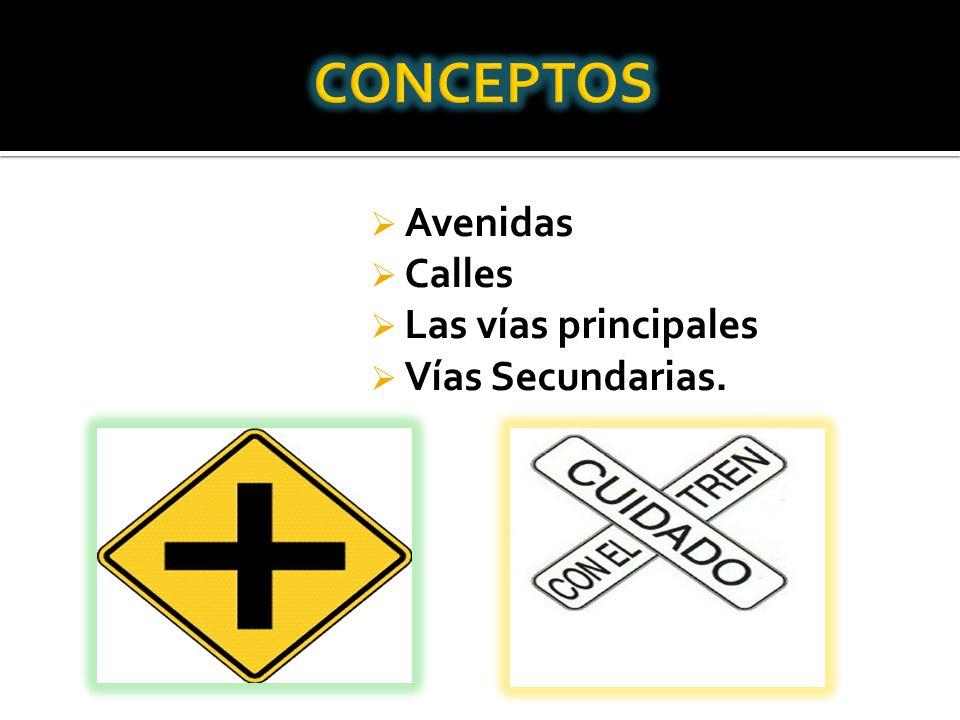 CONCEPTOS Avenidas Calles Las vías principales Vías Secundarias.