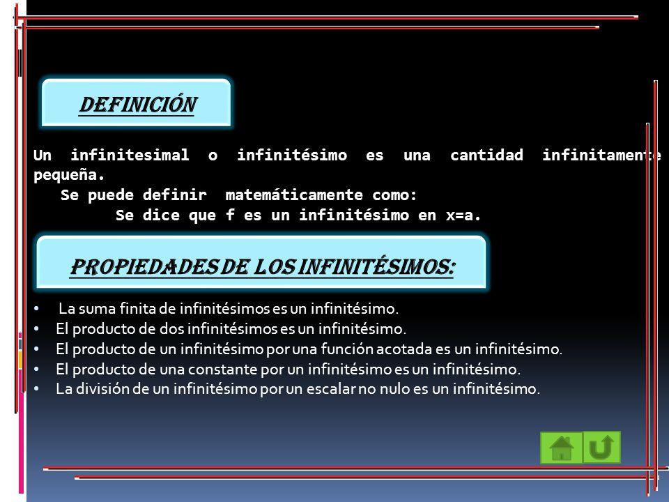 Propiedades de los infinitésimos: