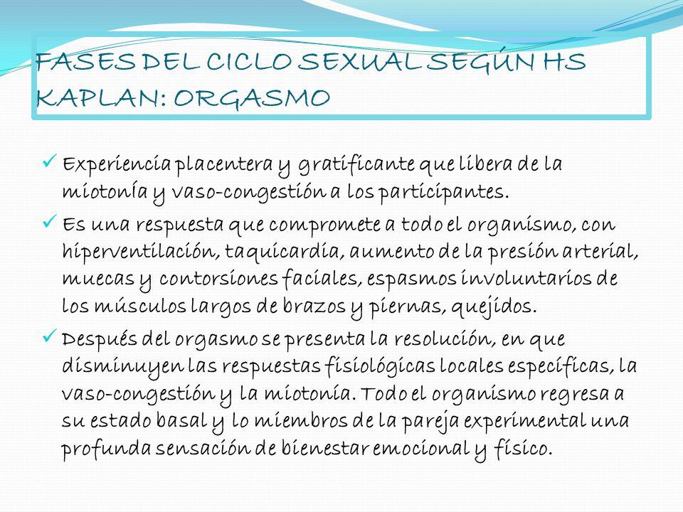 FASES DEL CICLO SEXUAL SEGÚN HS KAPLAN: ORGASMO