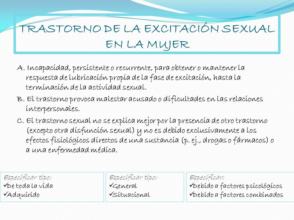 TRASTORNO DE LA EXCITACIÓN SEXUAL EN LA MUJER