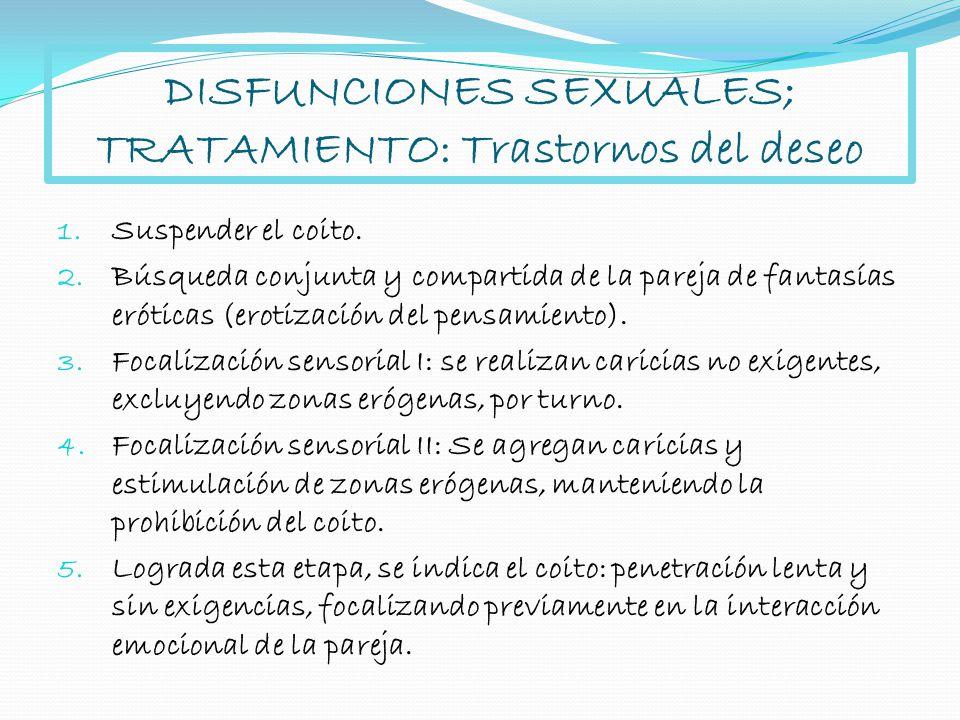 DISFUNCIONES SEXUALES; TRATAMIENTO: Trastornos del deseo