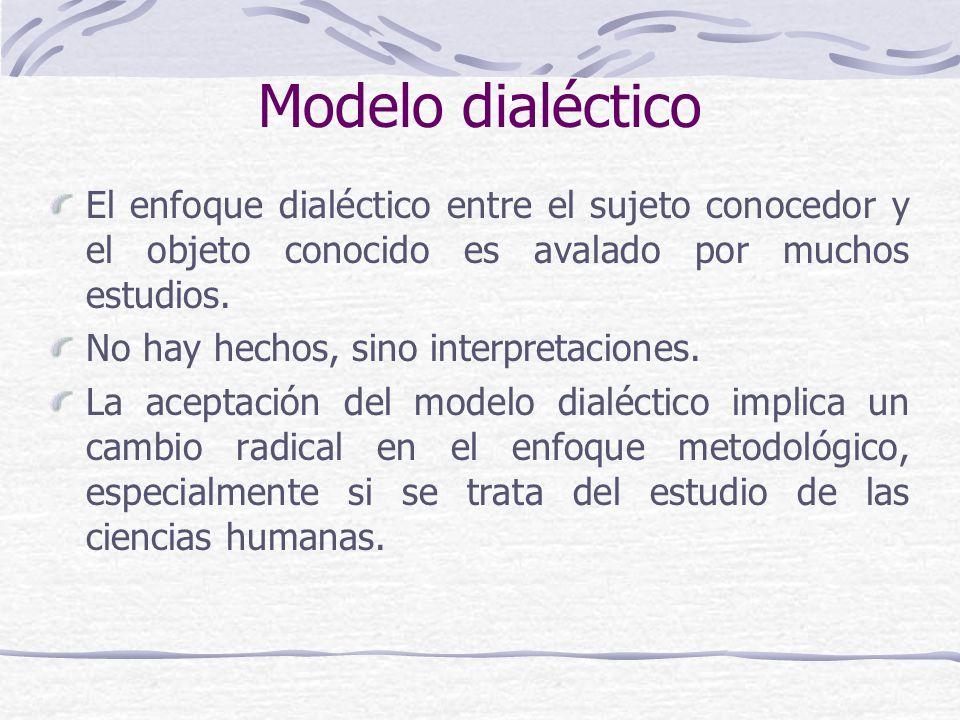 Modelo dialéctico El enfoque dialéctico entre el sujeto conocedor y el objeto conocido es avalado por muchos estudios.