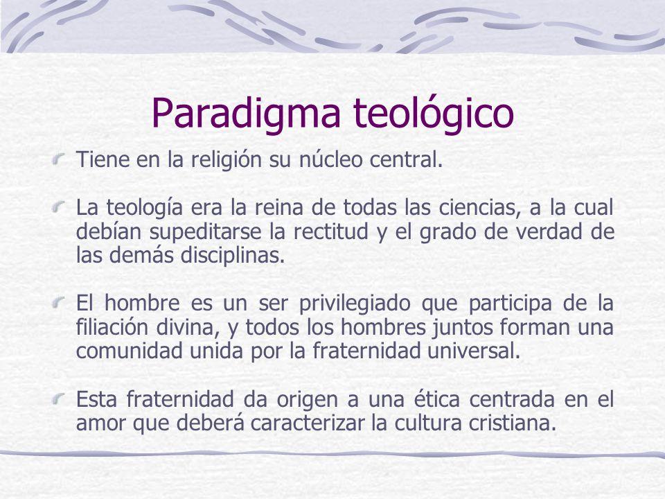 Paradigma teológico Tiene en la religión su núcleo central.