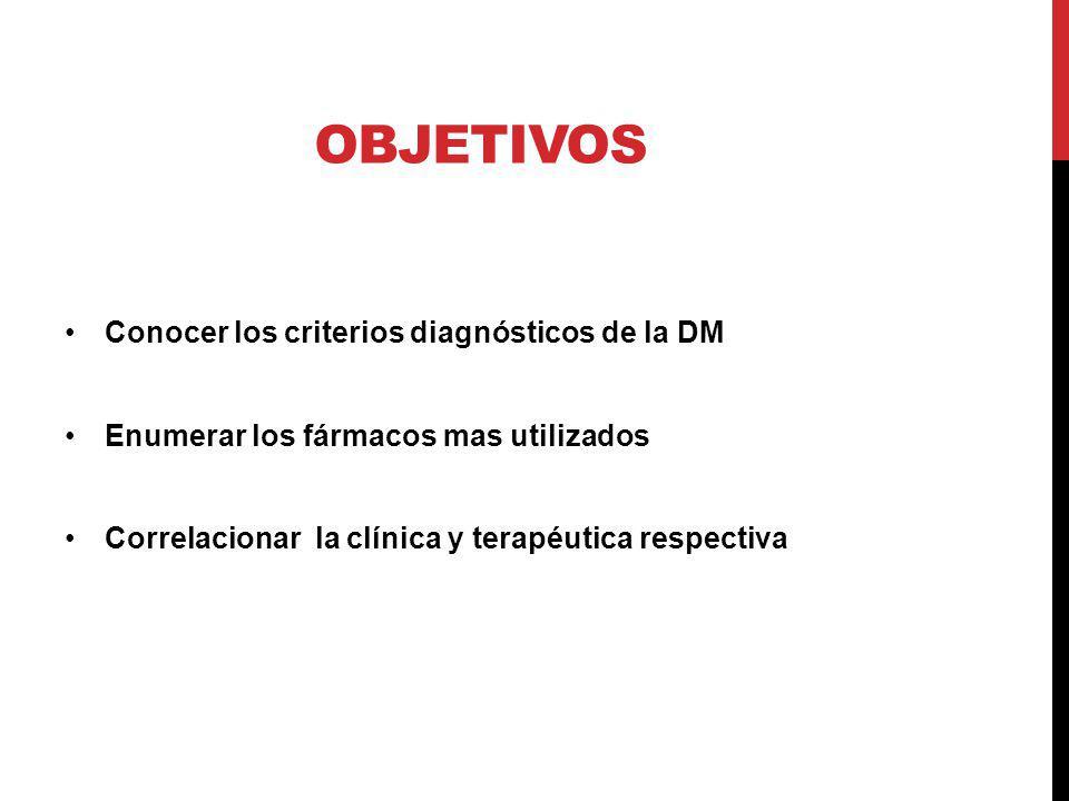 Objetivos Conocer los criterios diagnósticos de la DM