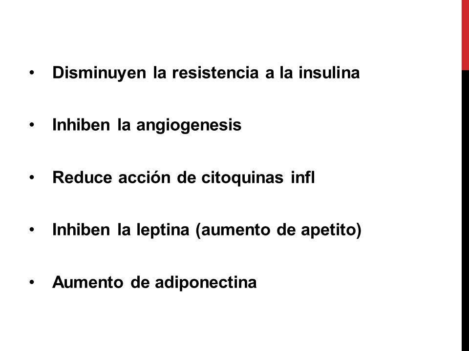 Disminuyen la resistencia a la insulina