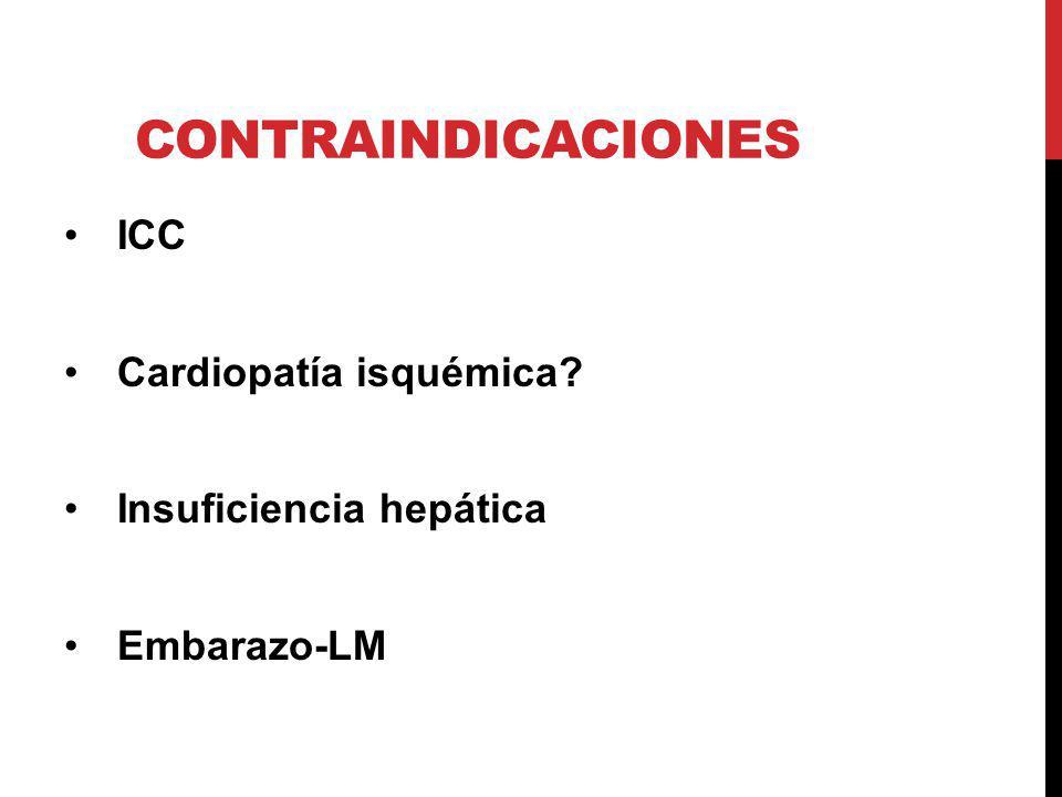 Contraindicaciones ICC Cardiopatía isquémica Insuficiencia hepática