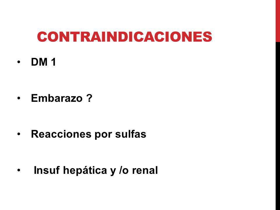 Contraindicaciones DM 1 Embarazo Reacciones por sulfas