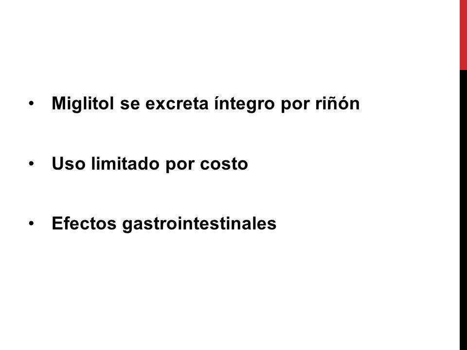 Miglitol se excreta íntegro por riñón
