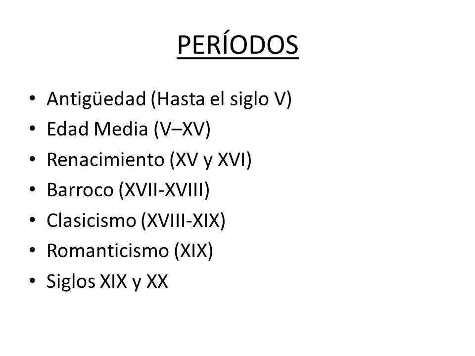 PERÍODOS Antigüedad (Hasta el siglo V) Edad Media (V–XV)