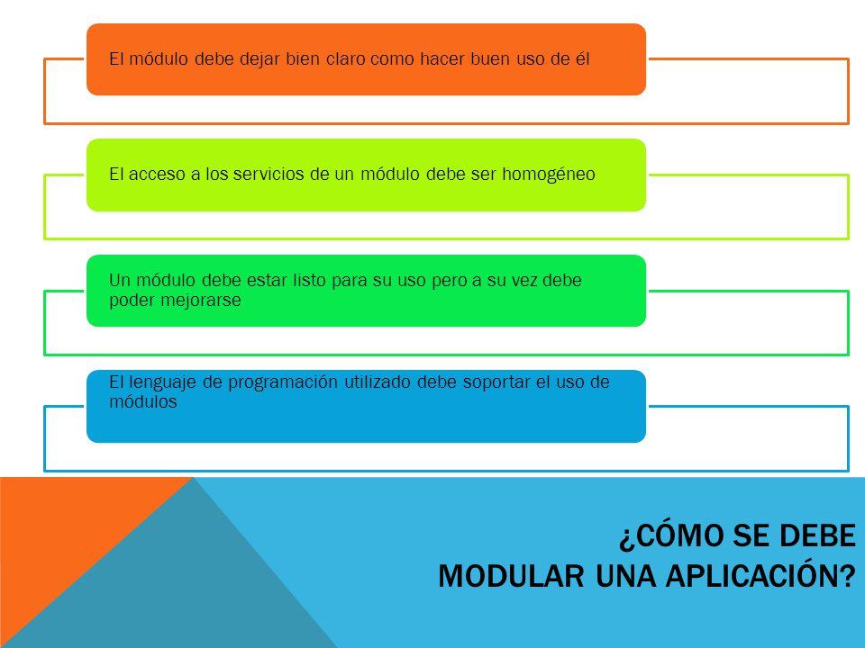 ¿Cómo se debe modular una aplicación