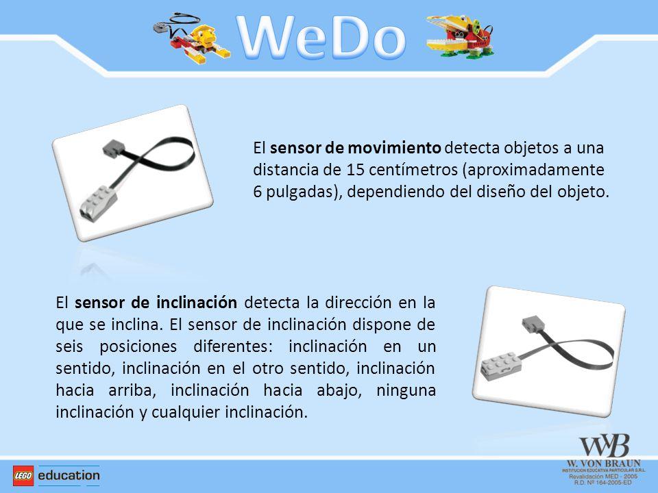 WeDo El sensor de movimiento detecta objetos a una distancia de 15 centímetros (aproximadamente 6 pulgadas), dependiendo del diseño del objeto.