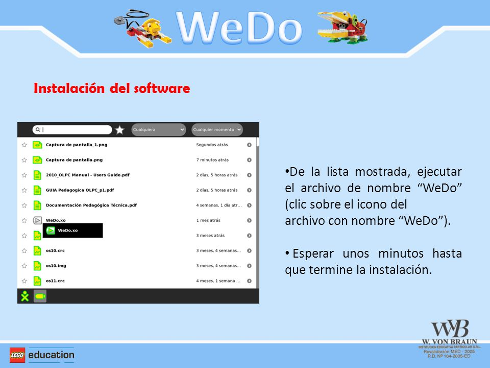WeDo Instalación del software