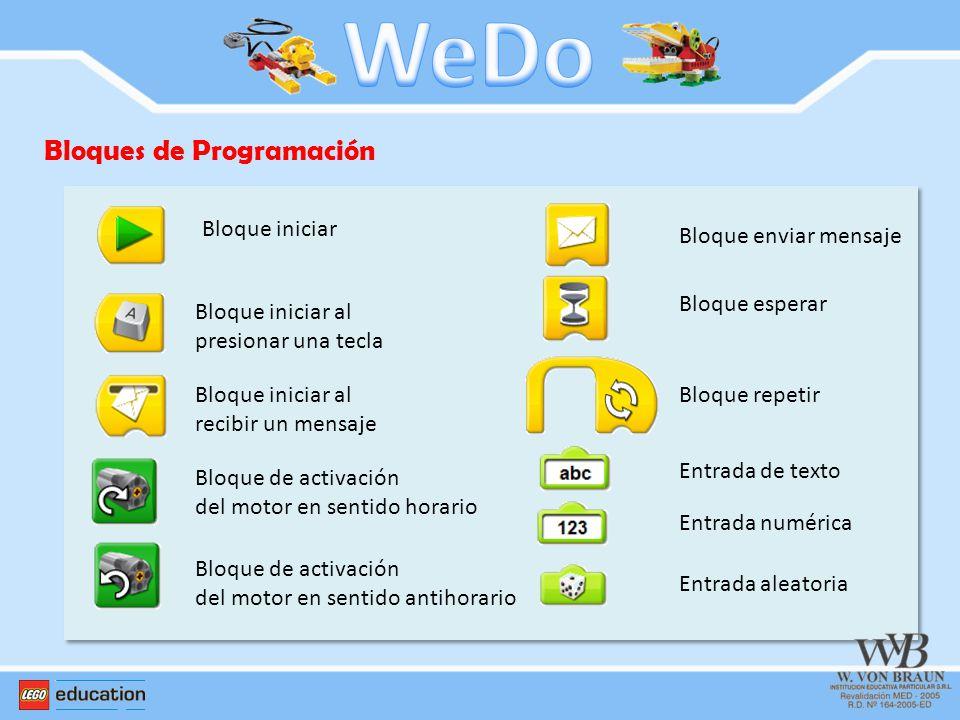WeDo Bloques de Programación Bloque iniciar