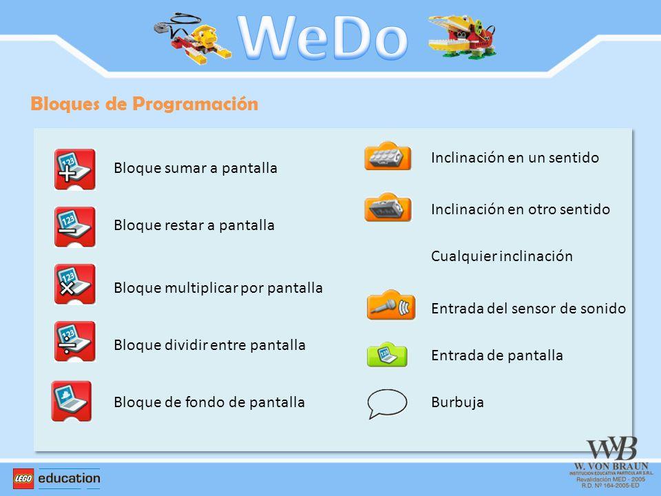WeDo Bloques de Programación Bloque sumar a pantalla