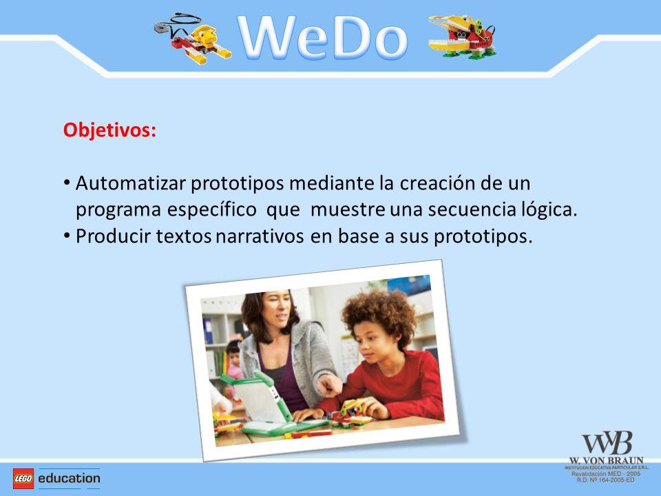 WeDo Objetivos: Automatizar prototipos mediante la creación de un programa específico que muestre una secuencia lógica.