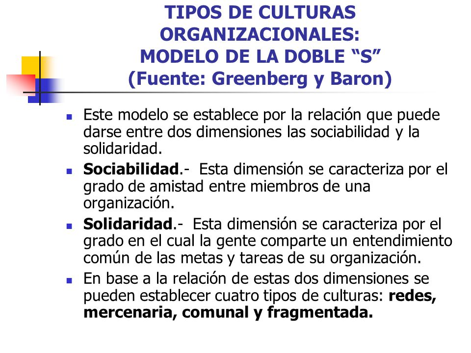 TIPOS DE CULTURAS ORGANIZACIONALES: MODELO DE LA DOBLE S (Fuente: Greenberg y Baron)