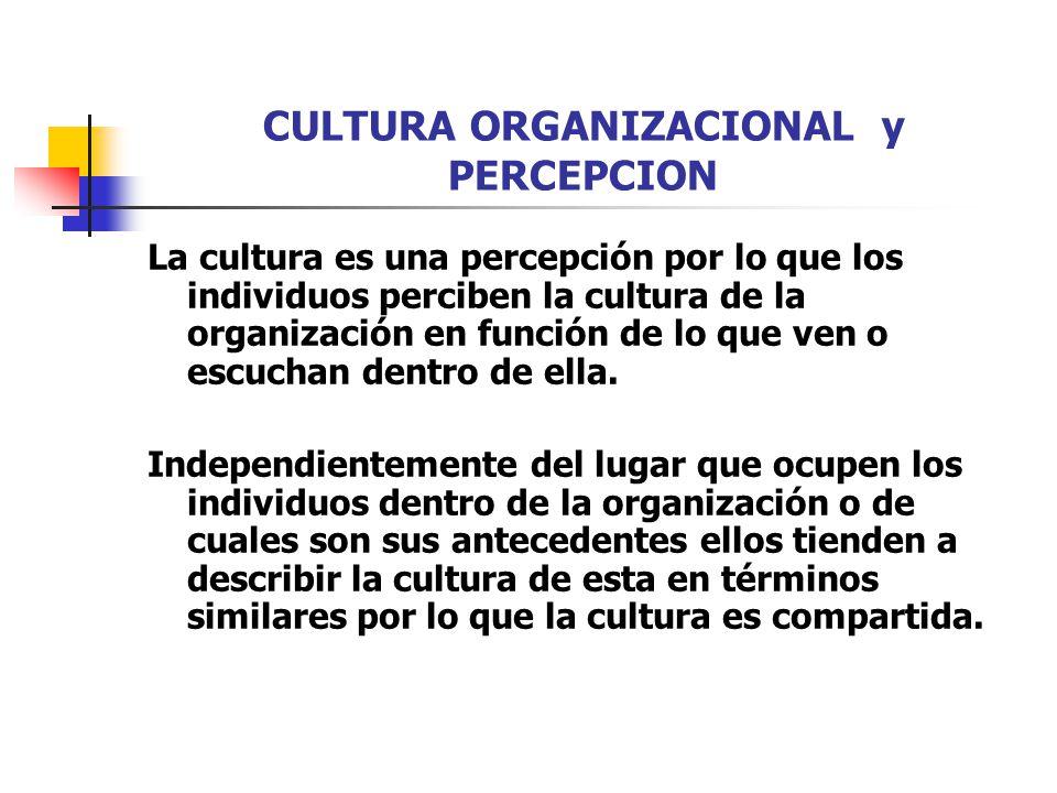 CULTURA ORGANIZACIONAL y PERCEPCION