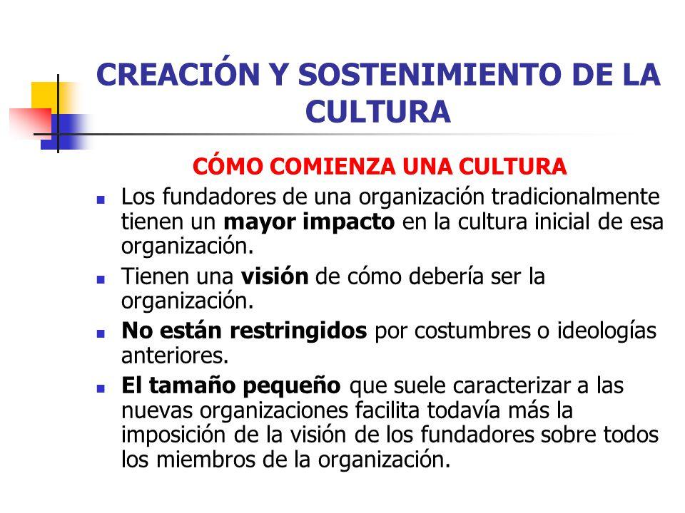 CREACIÓN Y SOSTENIMIENTO DE LA CULTURA