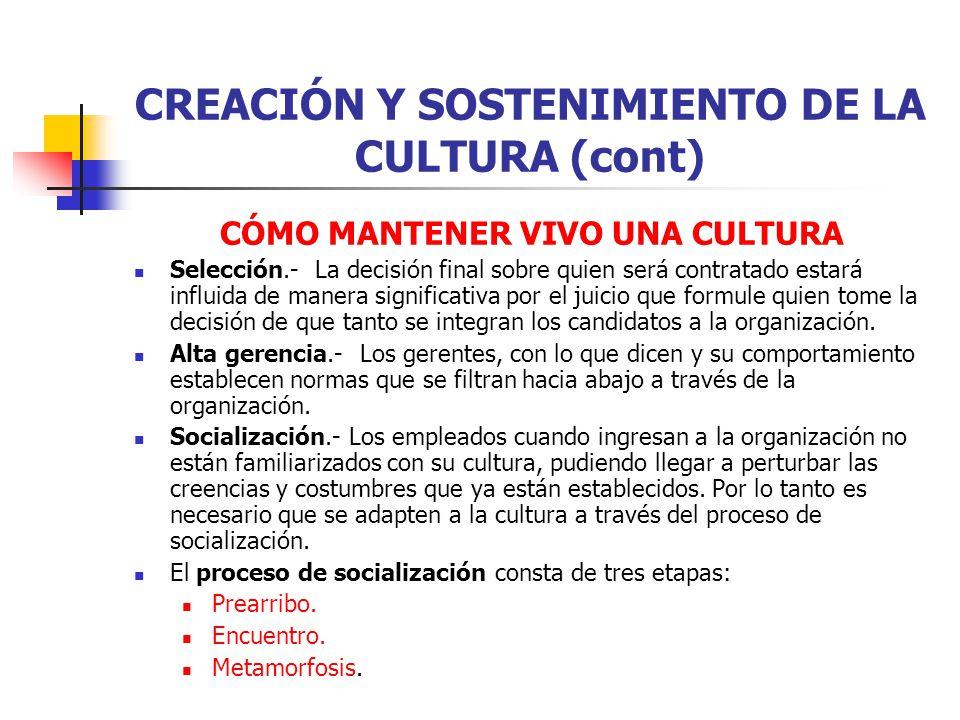 CREACIÓN Y SOSTENIMIENTO DE LA CULTURA (cont)