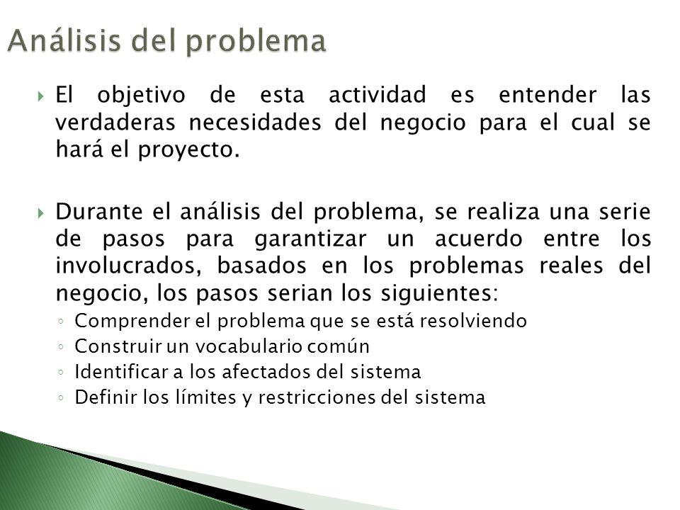 Análisis del problema El objetivo de esta actividad es entender las verdaderas necesidades del negocio para el cual se hará el proyecto.