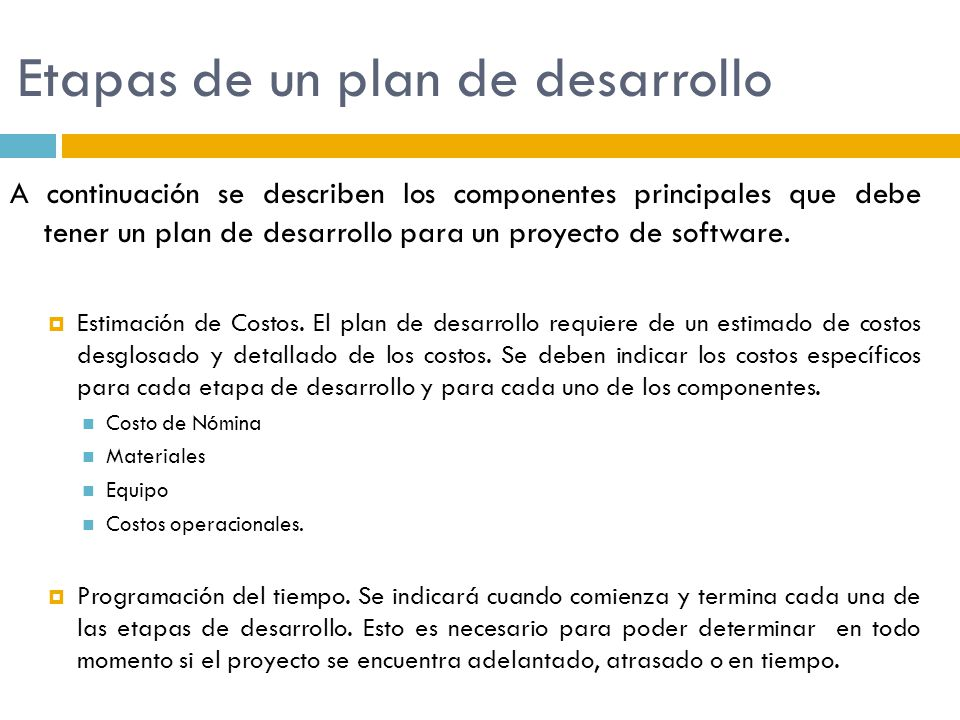 Etapas de un plan de desarrollo