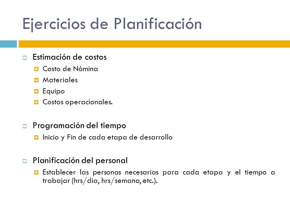 Ejercicios de Planificación