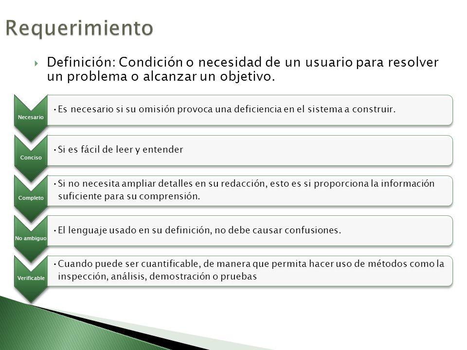 Requerimiento Definición: Condición o necesidad de un usuario para resolver un problema o alcanzar un objetivo.