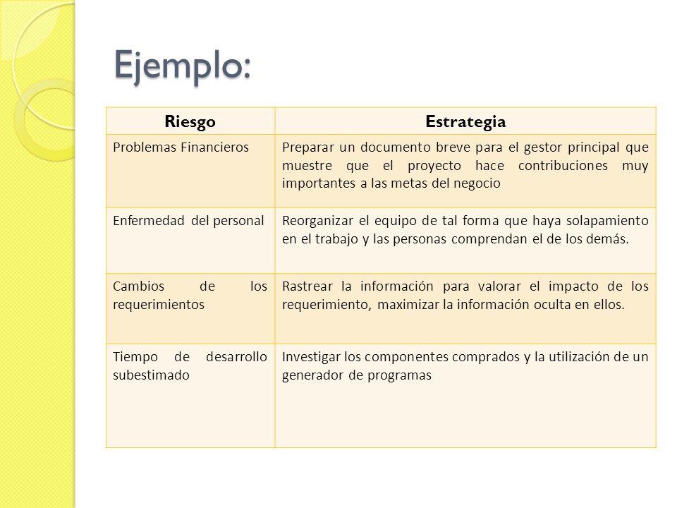 Ejemplo: Riesgo Estrategia Problemas Financieros